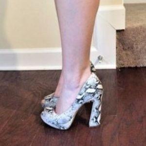 Daniella Women Leather Platform Open Toe High Heel